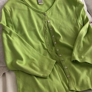 Green Cotton Cardigan